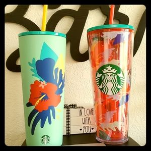 Starbucks Mint Hibiscus 🌺 and Red Floral